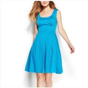 Bright aqua scoop neck fit & flare dress